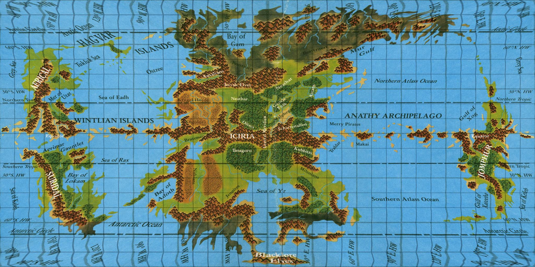 Reprojected maps of the Hollow World